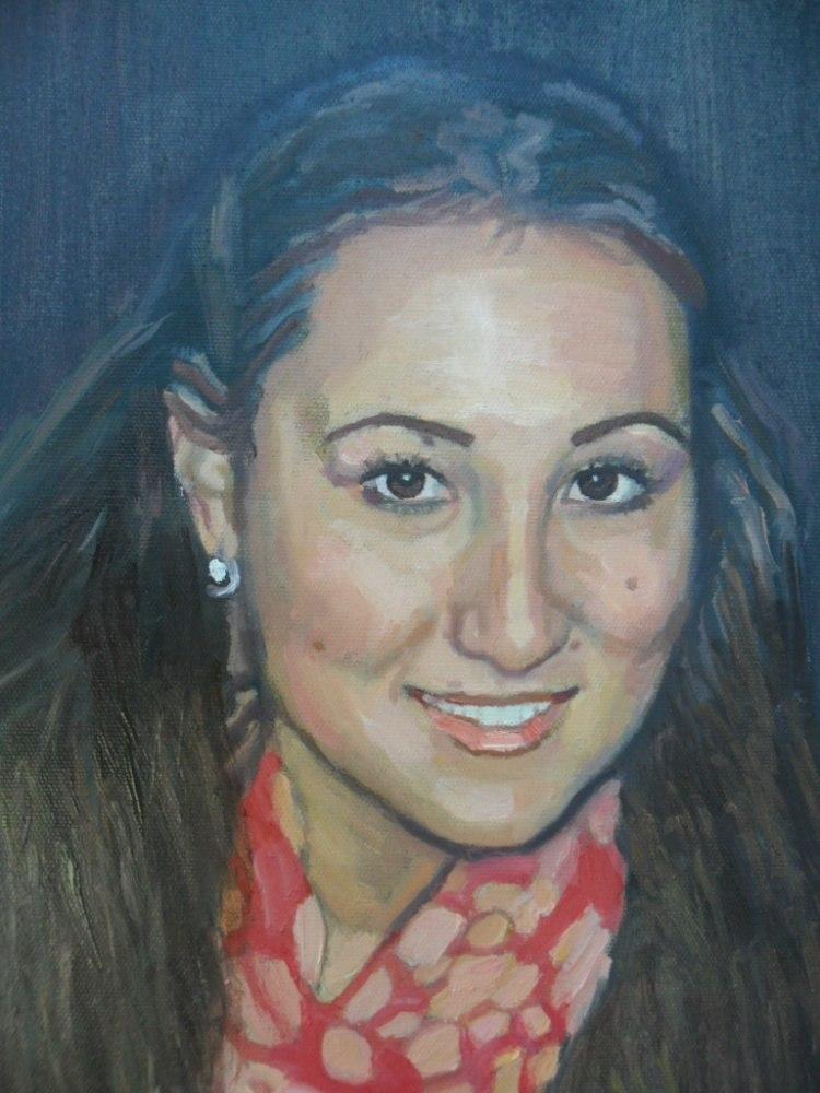 Портрет девушки в куртке по фото, ручная работа