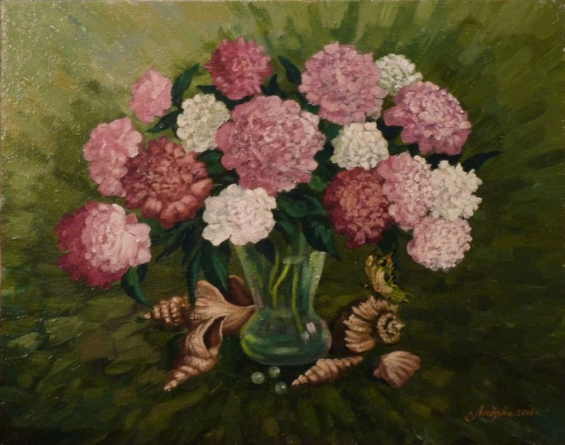 Натюрморт с цветами и ракушками