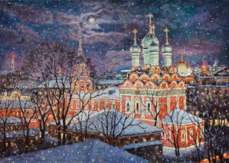 Снегопад над Москвой