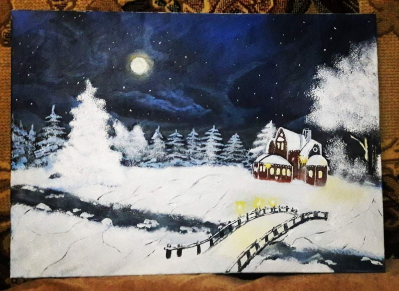 Оригинальный пейзаж маслом в стиле импрессионизма с изображением Зимней  пейзаж