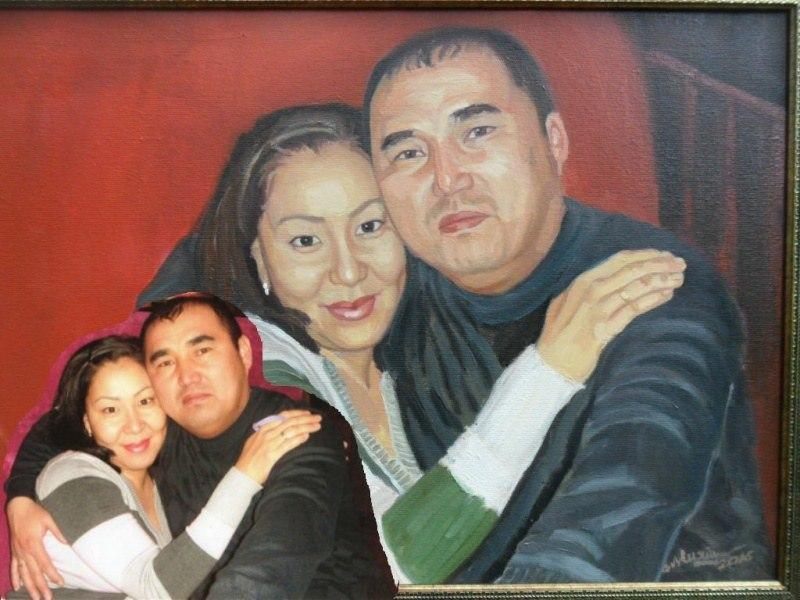 Двойной портрет по фото на юбилей маслом на холсте