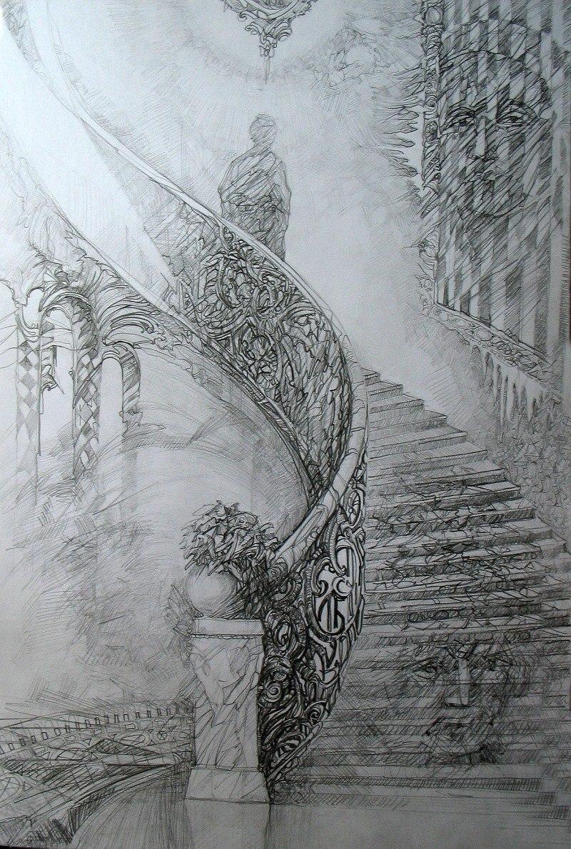 Автопортрет на лестнице.
