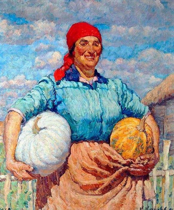 Колхозница с тыквами