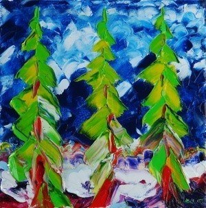 Christmas trees. Oil on canvas, ~ Другое