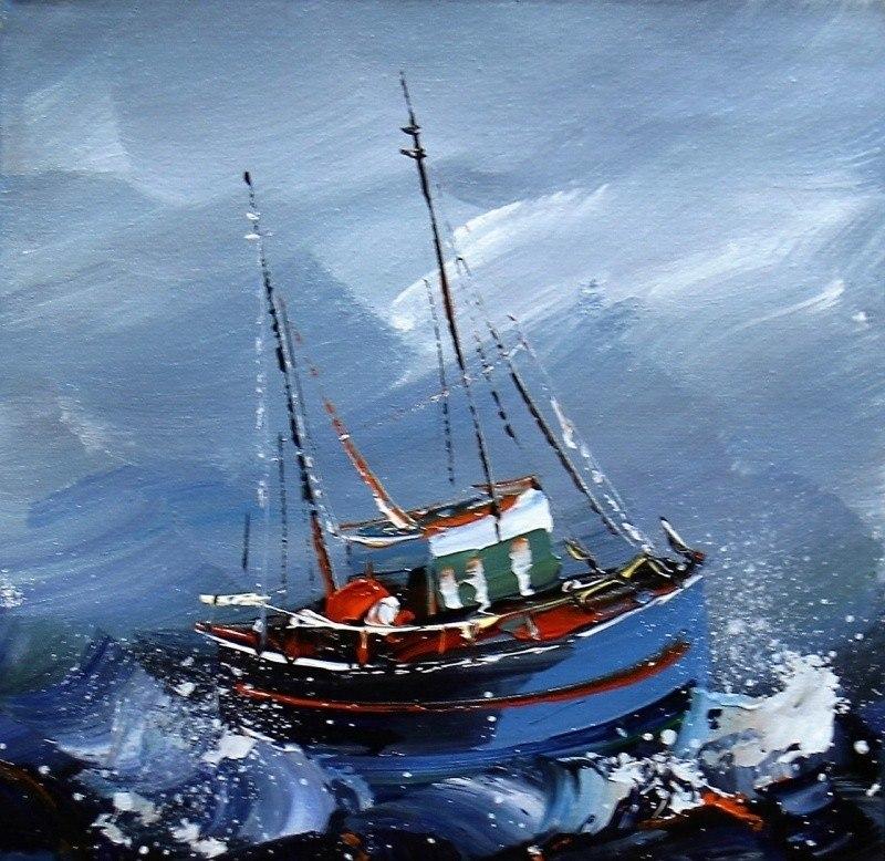 Рыбачья лодка в море