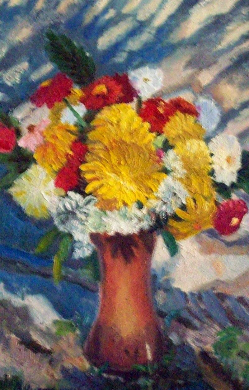 Букет цветов на фоне стены