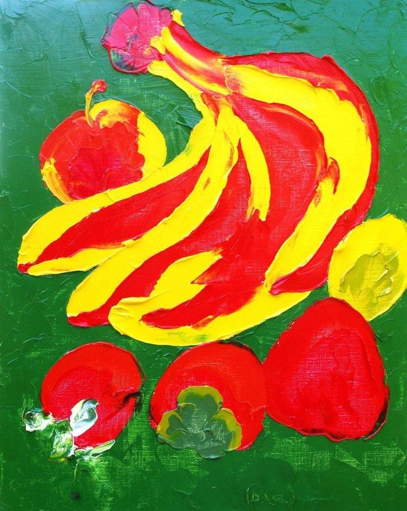 Fruit on a green background (Tselluloyd).