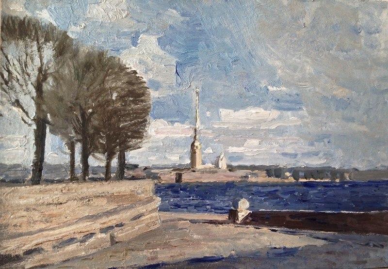 Эскиз  Вид  с Биржи на Петропавловскую крепость .