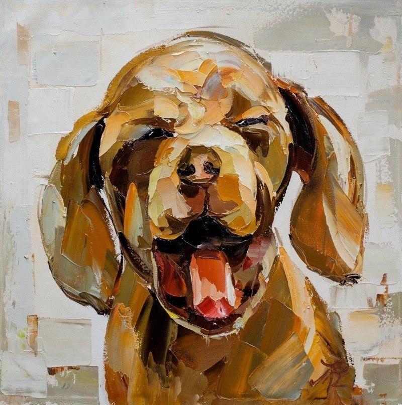 """Картина маслом """"Собака: Я счастлив! N2"""