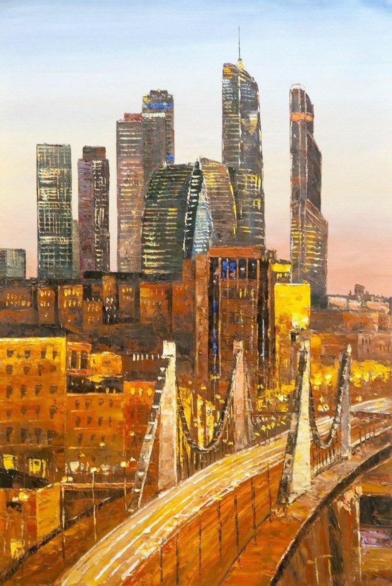 Вид на Москва-Сити через Крымский мост