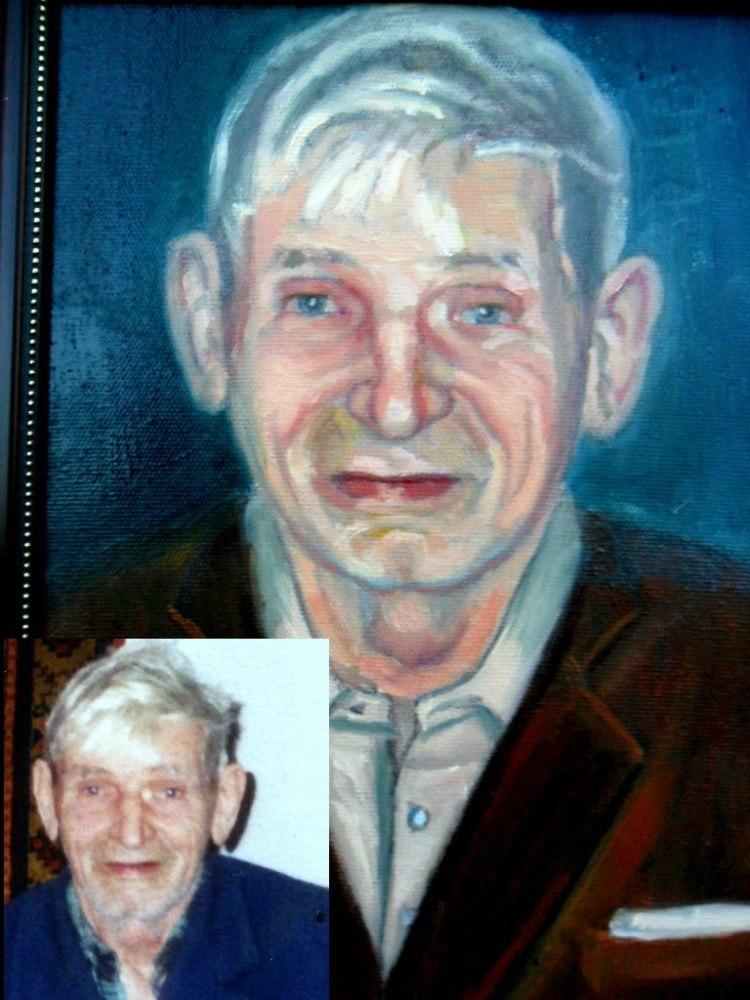 Портрет пожилого мужчины по фото, холст, масло