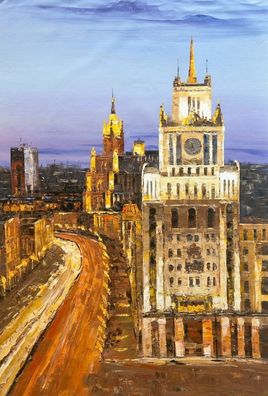 Москва. Ночной вид на Садовое кольцо и гостиницу Пекин