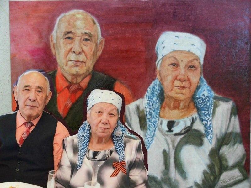 Портрет пожилой пары  по фото, холст, масло
