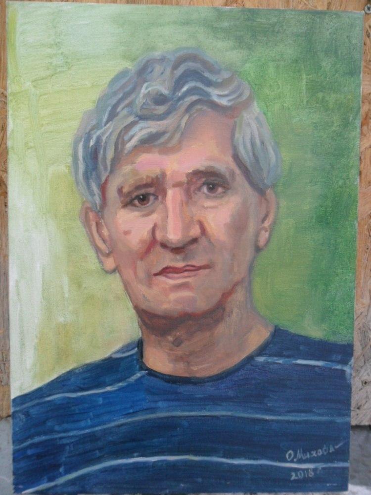 Мужской портрет по фото маслом на холсте
