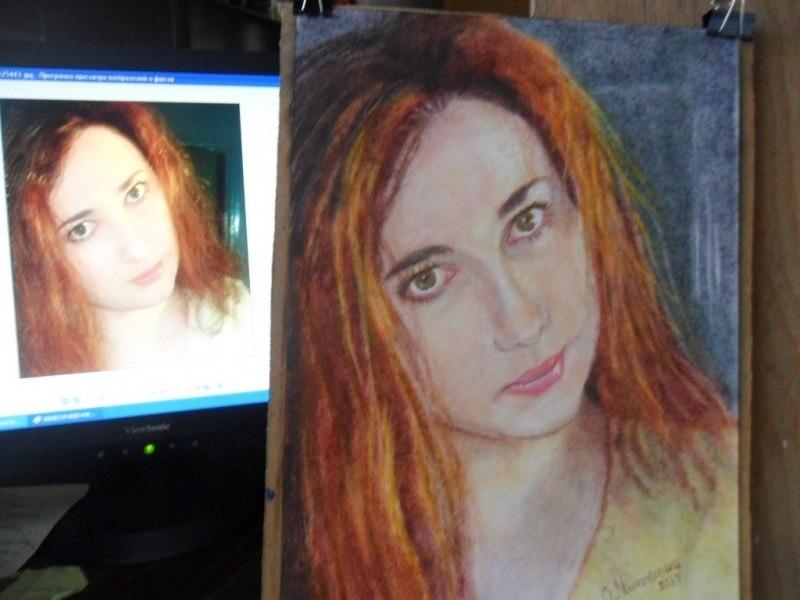 Женский портрет по фото на акварельной бумаге масло сухая кисть