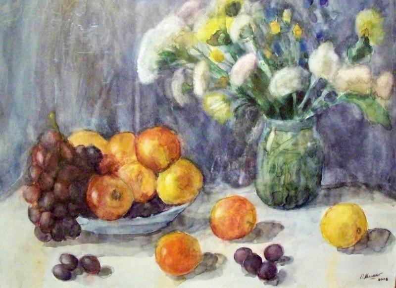 Полевые цветы, виноград и персики