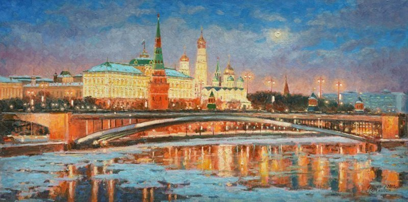 Зимней ночью Кремль при луне