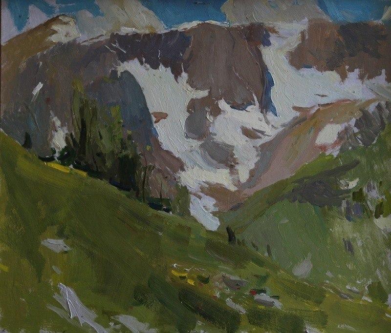 Июльские снежники на горе Пшехо-су. Этюд