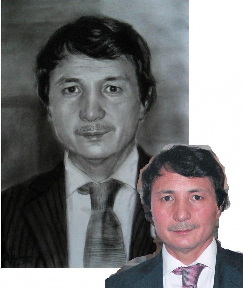 Мужской портрет по фото карандашом