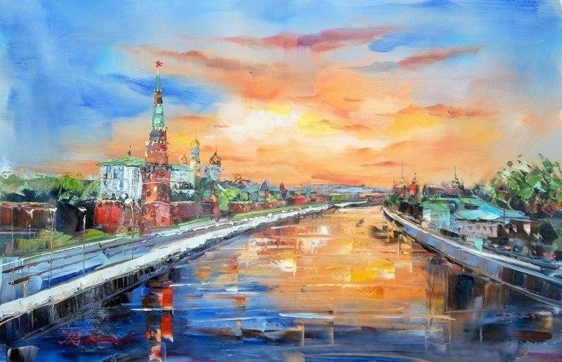 Утренняя Москва. Рассвет над Москва-рекой