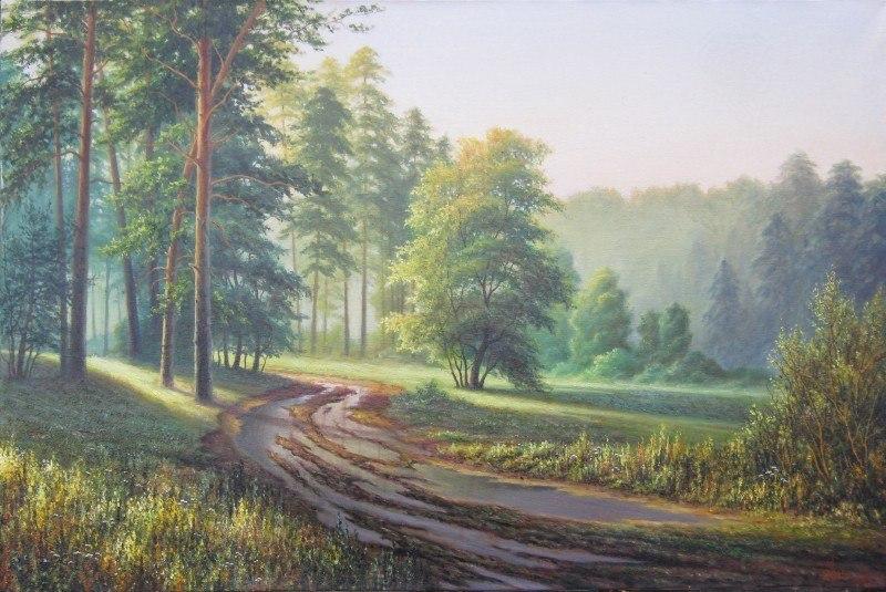 утро в лесу(с картины С.Басова.)