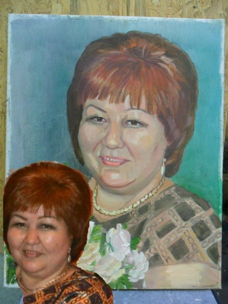 Женский портрет по фото, холст, масло.