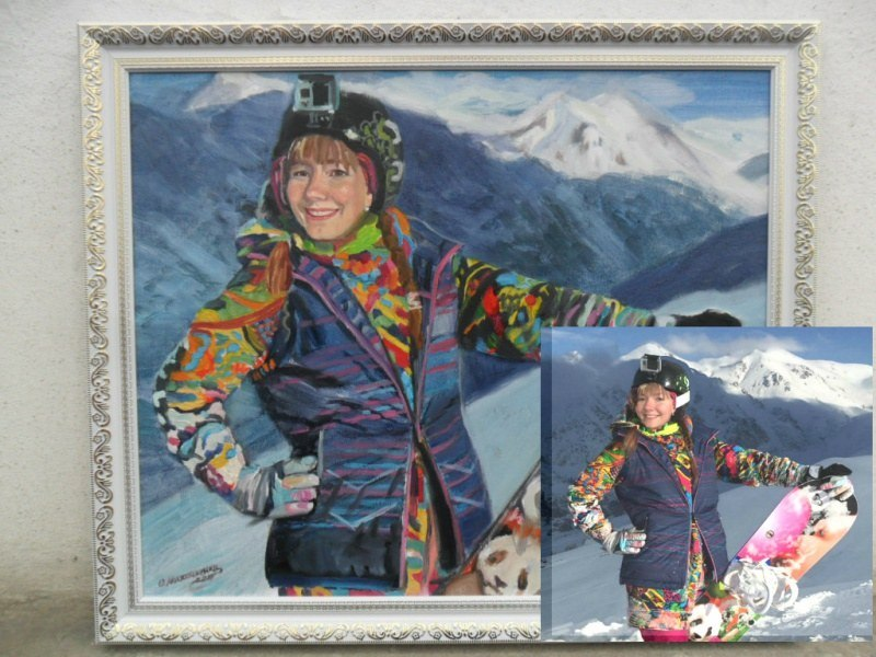 Женский портрет по фото маслом на холсте