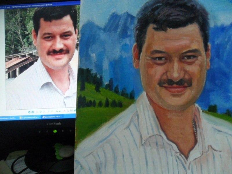 Мужской портрет по фото, холст, масло