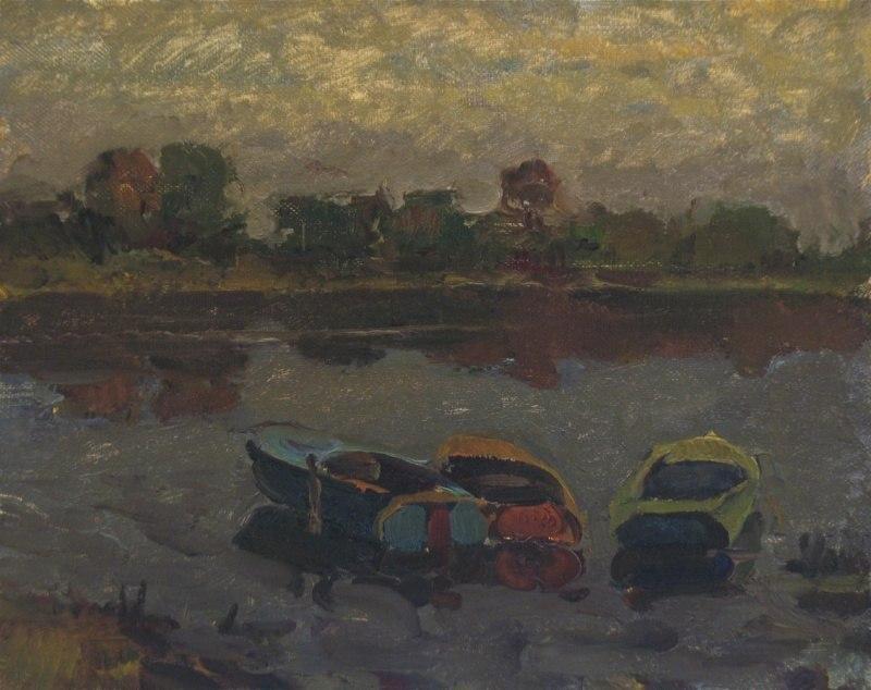Три лодки на вечерней реке