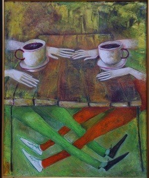 .Kafe 2013 year  Original Painting Oil on Canvas  50x60sm ~ Абстракционизм