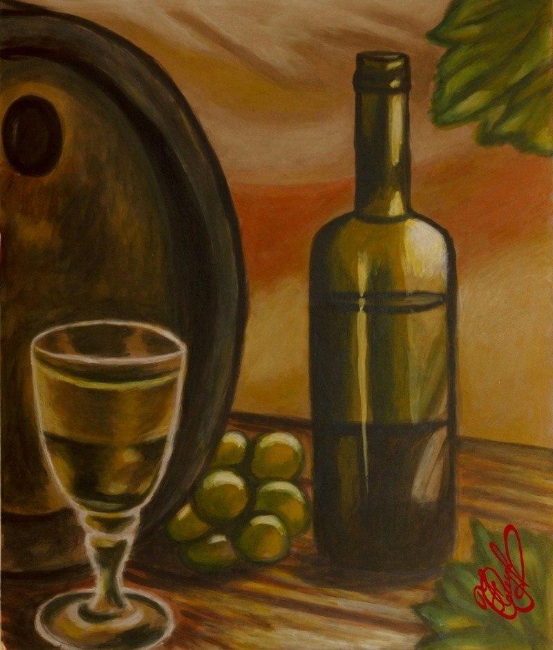 Вино, бокал, бочка, виноград
