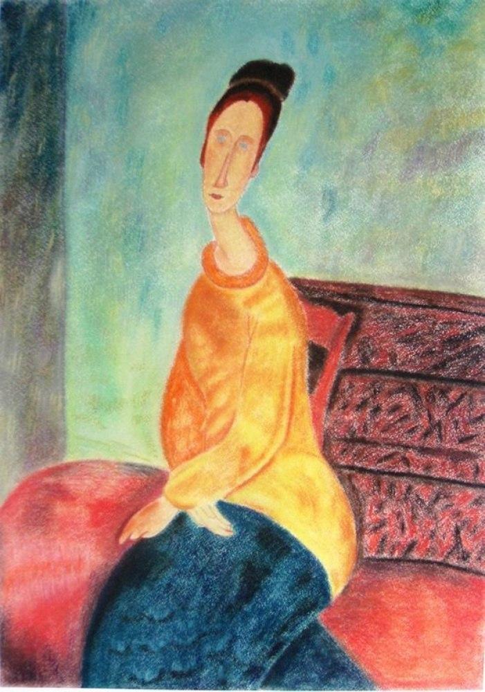 Жанна Эбютерн в желтом свитере