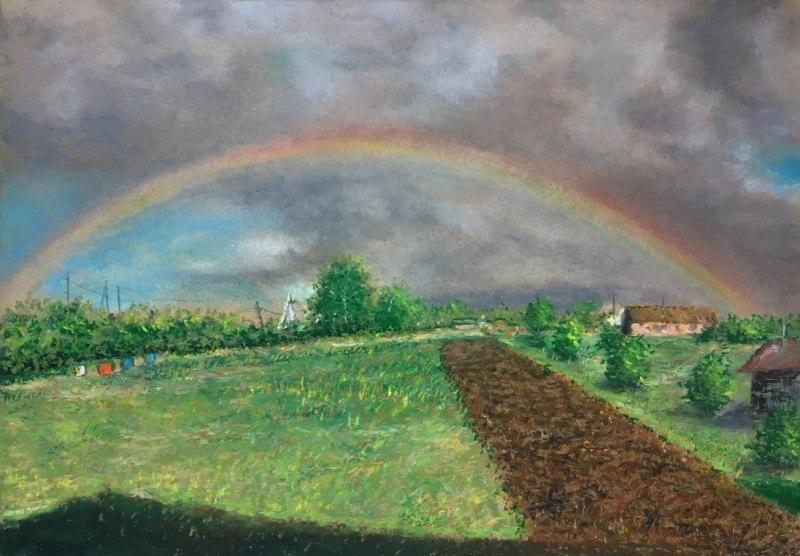 Деревенский пейзаж с радугой