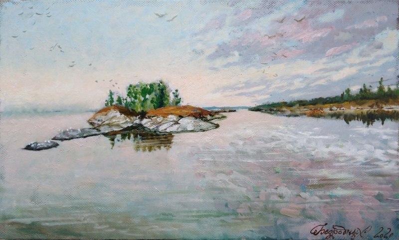Утро на Онежском озере.30х50см..jpg
