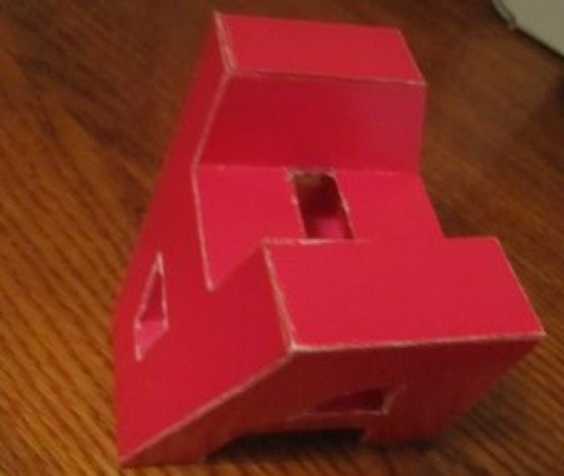 А-кубок. Реализация в объёме - алый картон.