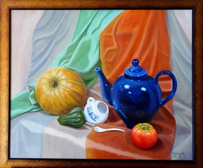Натюрморт с синим чайником с натуры