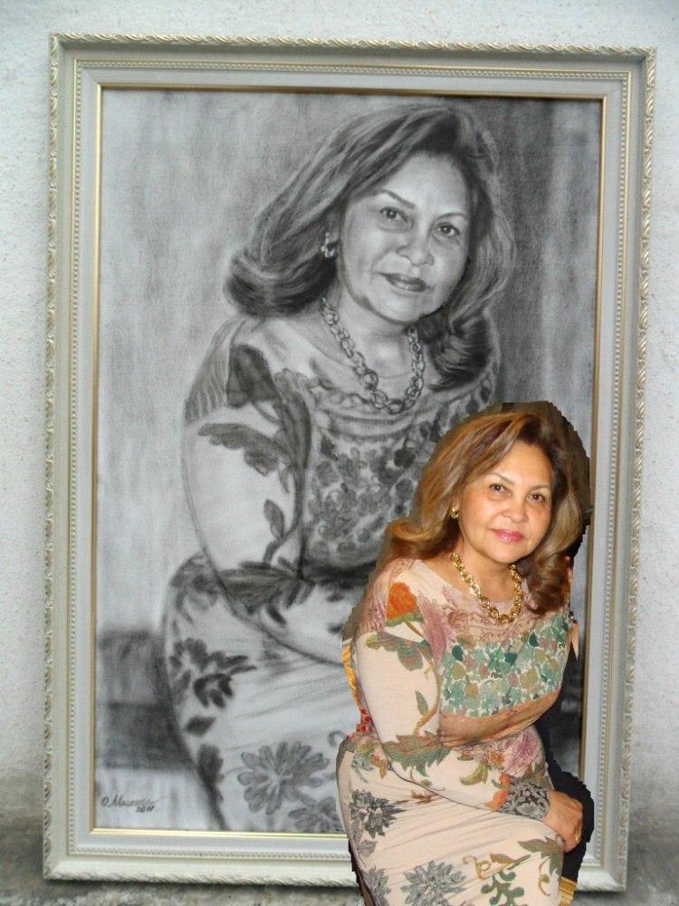 Женский портрет по фото на холсте масло сухая кисть